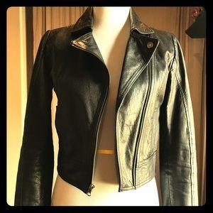 Frenchi Black Leather xs fitted Moto jacket